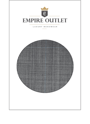 Grey Prince of Wales Check Worsted Wool Fabric Sample