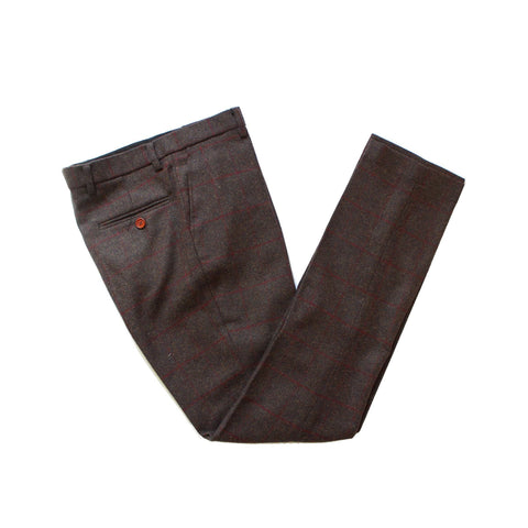 Dark Brown Red Windowpane Tweed Trousers