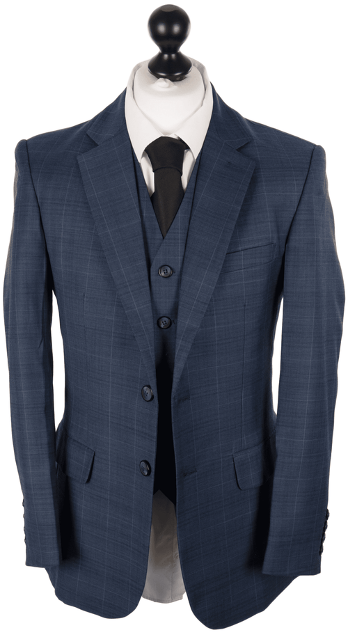 Deep Blue Plaid Worsted Wool 3 Piece Suit