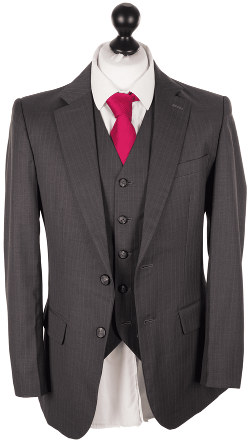 Charcoal Italian Pinstripe Worsted Wool 3 Piece Suit