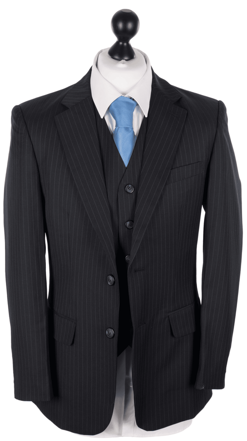 Navy Italian Pinstripe Worsted Wool 3 Piece Suit