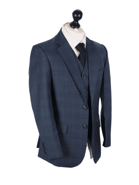 Deep Blue Plaid Worsted Wool Jacket