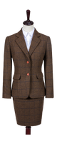 Country Brown Windowpane Tweed Jacket Womens