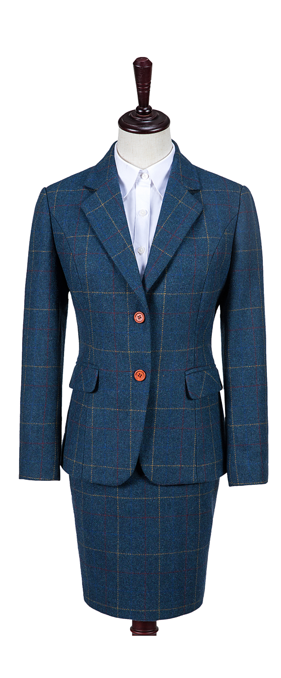 Blue Overcheck Twill Tweed Jacket Womens