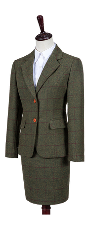 Olive Green Windowpane Tweed 2 Piece Womens