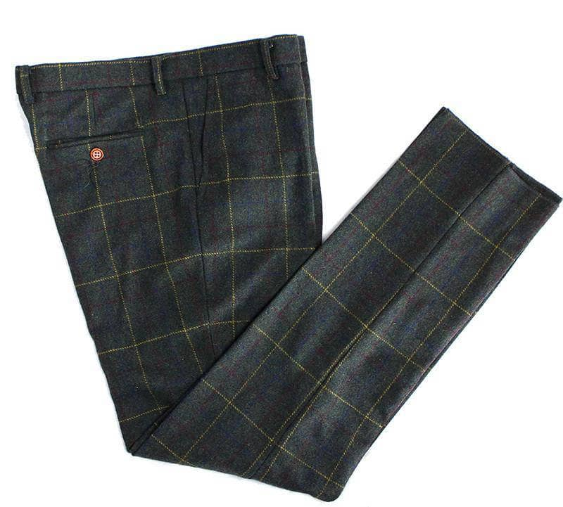 Dark Green Overcheck Twill Tweed Trousers