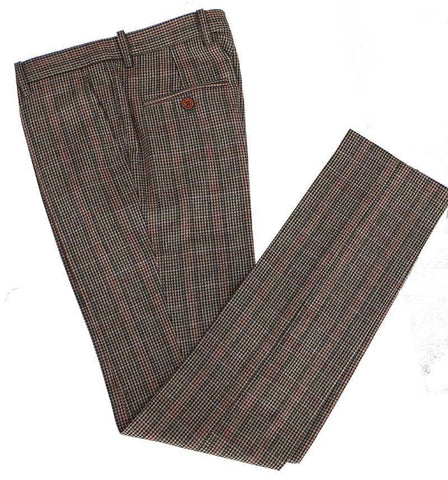 Brown Red Houndstooth Tweed Trousers