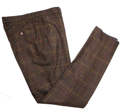 Brown Overcheck Twill Tweed Trousers