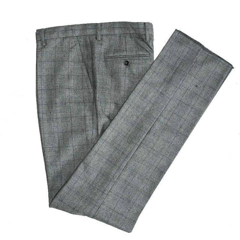 Grey Blue Prince of Wales Tweed Trousers
