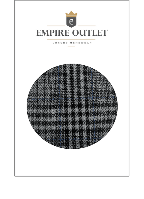 Retro Grey Blue Plaid Tweed Fabric Sample
