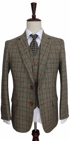 Retro Brown Plaid 3 Piece Suit
