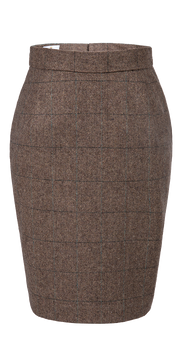 Traditional Brown Estate Herringbone Tweed Skirt Womens