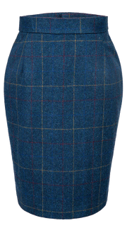 Blue Overcheck Twill Tweed 2 Piece Womens