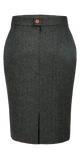 Green Herringbone Tweed Skirt Womens