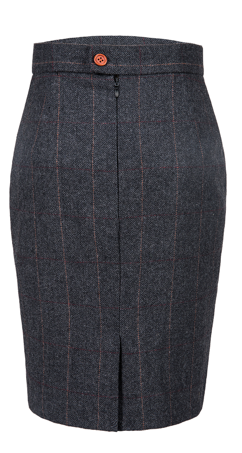 Dark Grey Estate Herringbone Tweed 2 Piece Womens