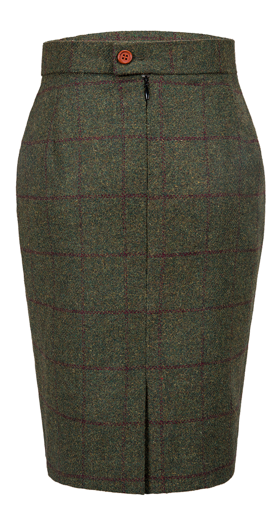 Olive Green Windowpane Tweed Skirt Womens