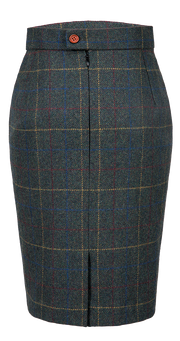 Dark Green Overcheck Twill Tweed Skirt Womens