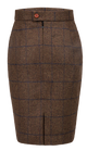 Country Brown Windowpane Tweed Skirt Womens