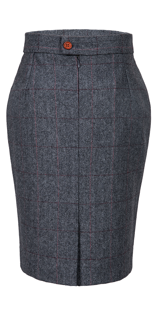Traditional Grey Estate Herringbone Tweed Skirt Womens