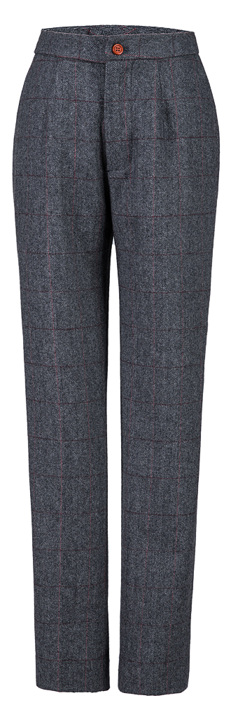 Traditional Grey Estate Herringbone Tweed Trousers Womens