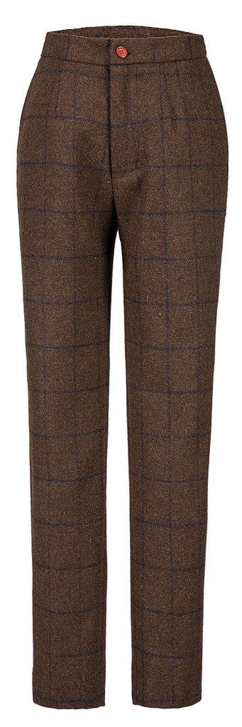 Country Brown Windowpane Tweed Trousers Womens