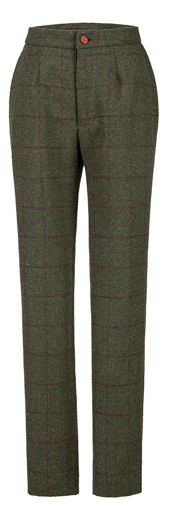 Olive Green Windowpane Tweed Trousers Womens