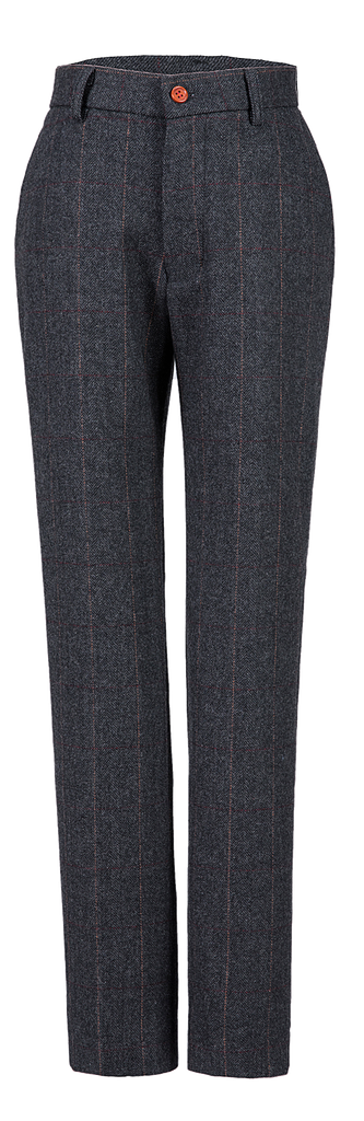 Dark Grey Estate Herringbone Tweed Trousers Womens
