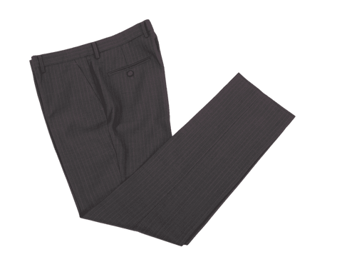 Charcoal Italian Pinstripe Worsted Wool Trousers