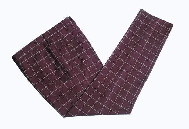 Wine Red Windowpane Trousers