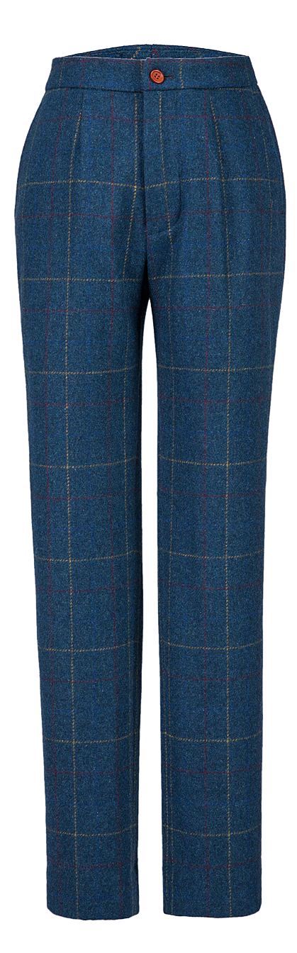 Blue Overcheck Twill Tweed Trousers Womens