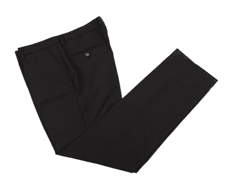 Classic Black Worsted Wool Trousers