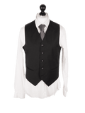 Classic Black Worsted Wool Waistcoat