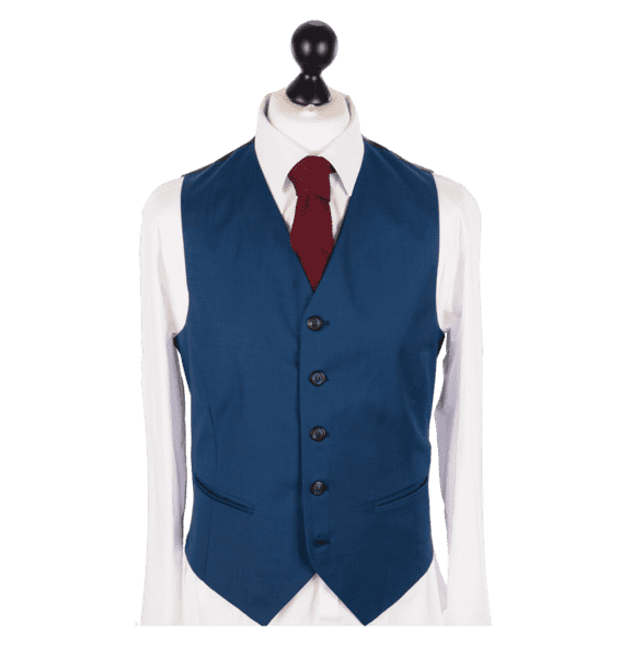 Royal Blue Worsted Wool Waistcoat