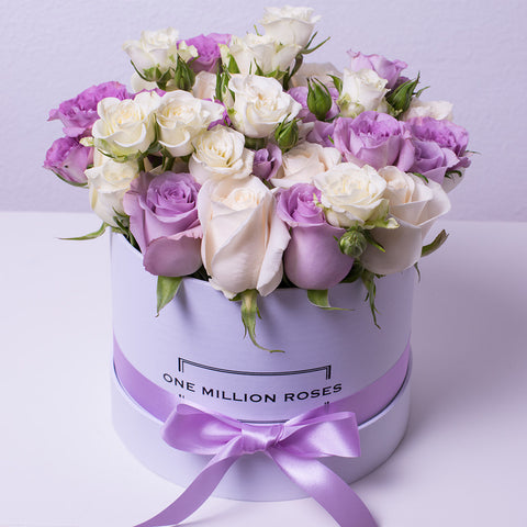 Wedding Collection - Small Box - Rose Bianco Lilla Mix - Scatola Bianca