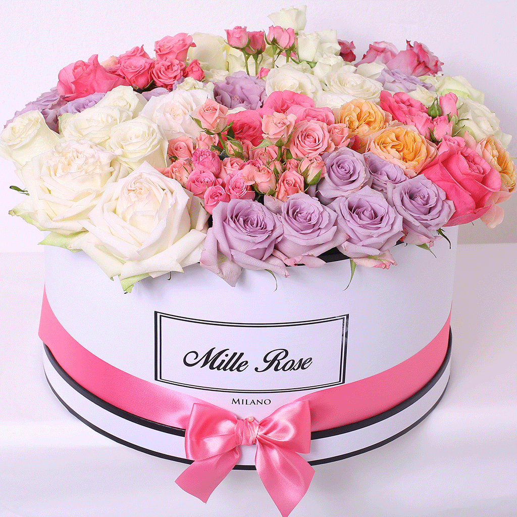 Mille Rose - One Million Box - Rose Mix Excelsior - Scatola Bianca