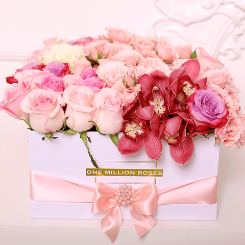 Classic Collection - Square Box - Rose Mix Ortensie - Scatola Bianca