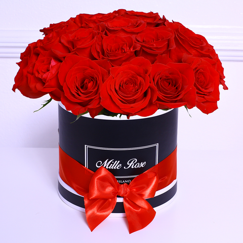 Mille Rose Collection - Small Box - Rose Rosse Sfera - Scatola Nera