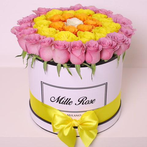 Mille Rose Collection - Medium Box - Rose Lilla Gialle Arancioni Bianche - Scatola Bianca
