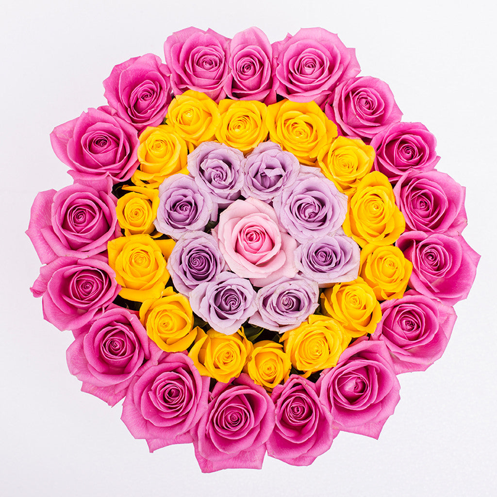 Classic Collection - Medium Box - Rose Lilla Giallo Rosa - Scatola Bianca