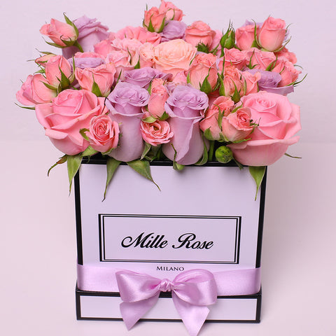 Mille Rose Collection - Cube Box - Rose Mix Rosa - Scatola Bianca