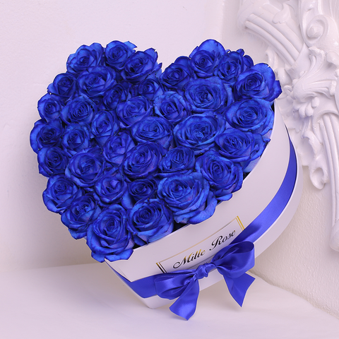 Mille Rose Collection - Love Box - Rose Blu - Scatola Bianca