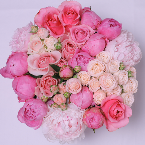 Mille Rose Collection - Medium Box - Rose Mix e Peonie - Scatola Bianca