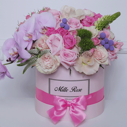 Mille Rose Collection - Medium Box - Rose Mix Garofani- Scatola Rosa