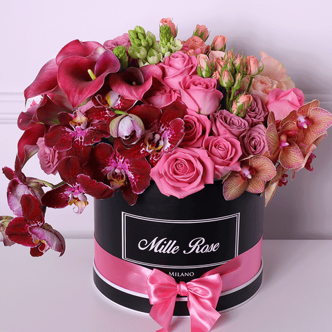 Mille Rose Collection - Medium Box - Rose Mix Ornitogallo - Scatola Nera
