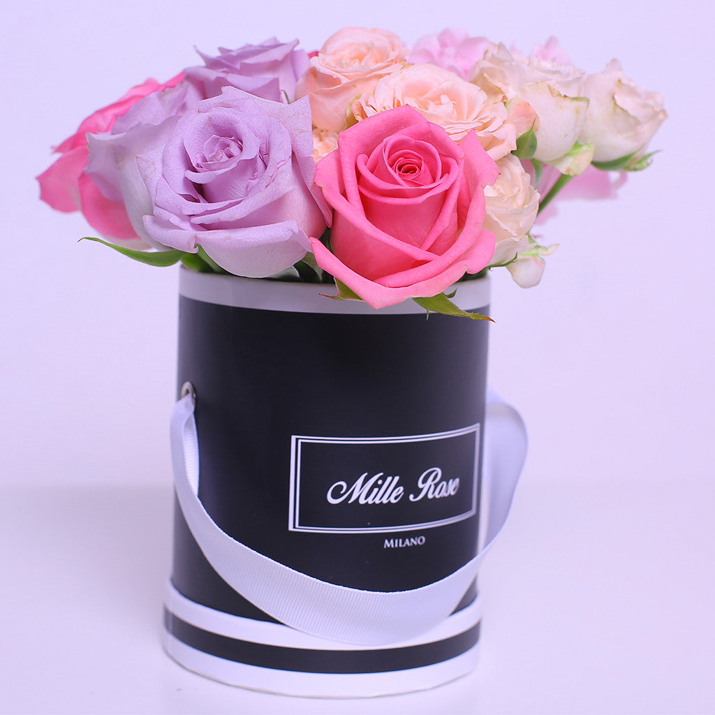Mille Rose Collection - Mini Box - Rose Mix Rosa Lilla Fucsia - Scatola Nera