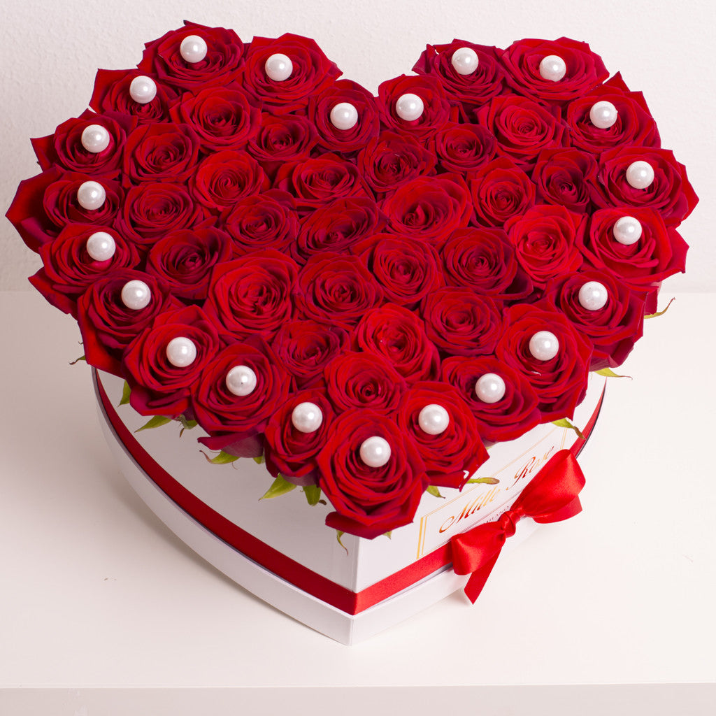 Mille Rose Collection - Love Box - Rose Rosse con Perle - Scatola Bianca