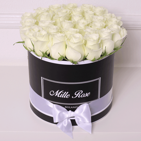 Mille Rose Collection - Medium Box - Rose Bianche - Scatola Nera