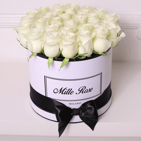 Mille Rose Collection - Medium Box - Rose Bianche - Scatola Bianca