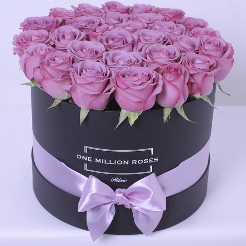 Mille Rose Collection - Medium Box - Rose Bianche Fucsia Lilla - Scatola Bianca