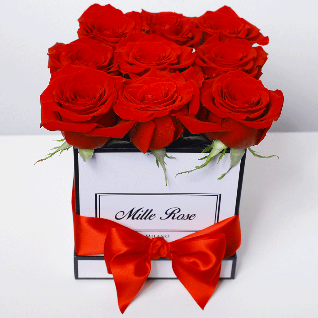 Mille Rose Collection - Cube Box - Rose Rosse - Scatola Bianca